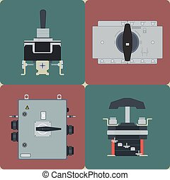 Knife Switch - Flat icons electrical circuit breaker, switch...