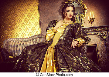duchess - Renaissance Style - beautiful young woman in the...