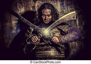 medieval, guerreira,