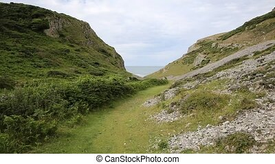 Valley walk to Mewslade Bay Gower - Path in valley to...
