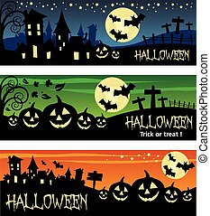 Halloween banner illustration design text outline no drop...