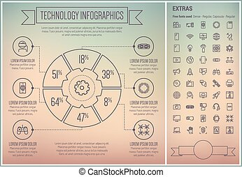 Technology Line Design Infographic Template