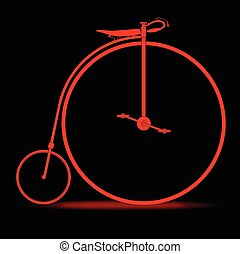 Red Penny Farthing - A penny farthing bicycle in red over a...