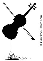 Flowing Fiddle Music - A fiddle melting down with musical...