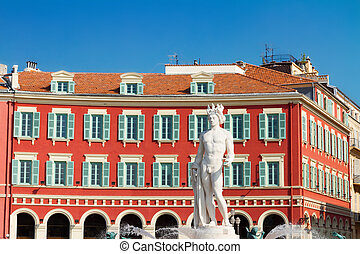 old town of Nice, France - central square in old town of...