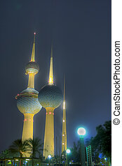 Kuwait Towers aglow - Kuwait Towers glowing after midnight.