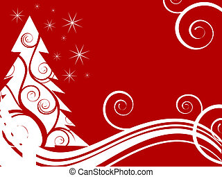 winter scene - christmas card - vector illustration of white...