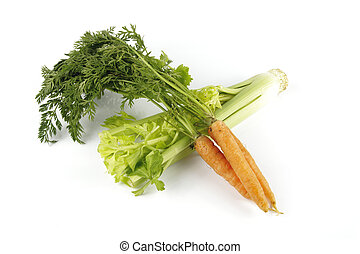 Carrots and Celery - Fresh bunch of orange carrots with...