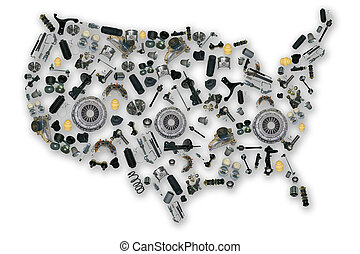Spare parts map of america - Spare parts map for shop auto...