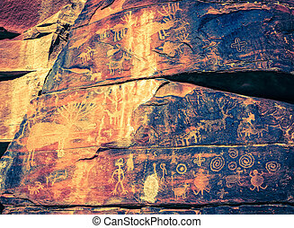 Indian Petroglyphs - Closeup image of Indian petroglyphs on...