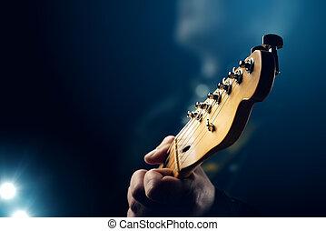 Guitarrista, ligado, fase,