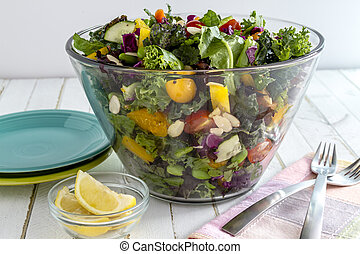 Organic Super Food Vegetarian Salad - Glass bowl filled with...