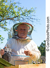 Working apiarist in a spring season - Beekeeper holding a...