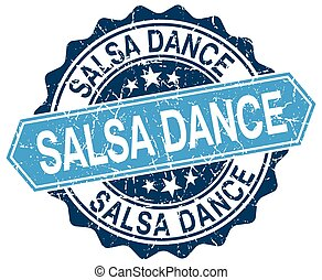 salsa dance blue round grunge stamp on white