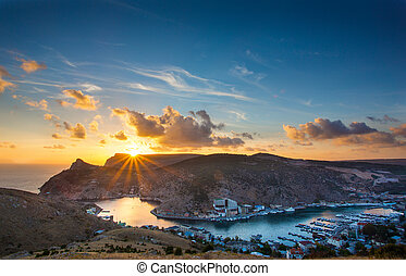 Sunset over the Balaklava Bay. Crimea. Balaclava - sunset...