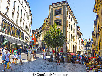 View of Lausanne street in summer - LAUSANNE, SWITZERLAND -...