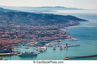 Italy. Livorno. View of the city and a seaport with...