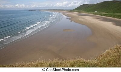 Rhossili beach The Gower peninsula South Wales one of the...