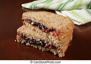 Peanut butter jelly sandwich - A peanut butter and jelly...