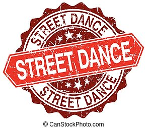 street dance red round grunge stamp on white