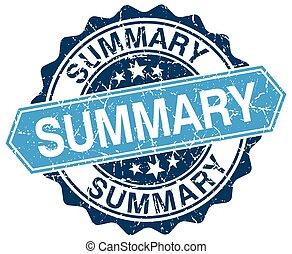 summary blue round grunge stamp on white