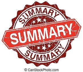 summary red round grunge stamp on white