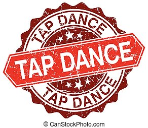 tap dance red round grunge stamp on white