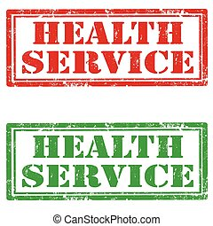 Health Service - Set of grunge rubber stamps with text...