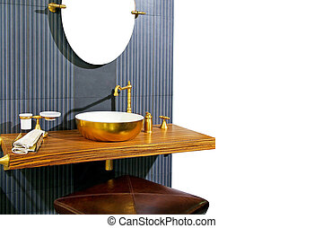 Brass lavatory - Retro style lavatory with wood and brass...