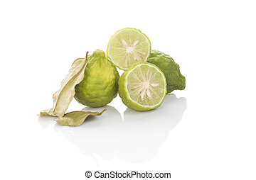 Bergamot fruit isolated - Delicious ripe bergamot fruit with...