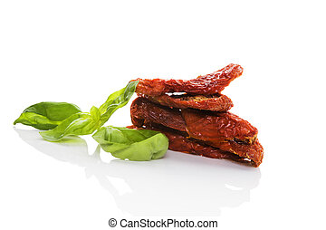Sundried tomatoes isolated - Sundried tomatos with fresh...