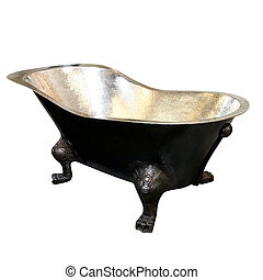 Metal bathtub - Old metal bathtub isolated included clipping...