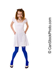 Funny Lolita wearing blue vivid tights isolated on white