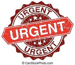 urgent red round grunge stamp on white