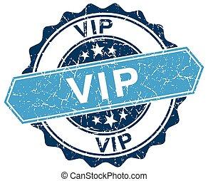 vip blue round grunge stamp on white