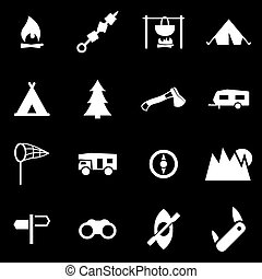 Vector white camping icon set on black background