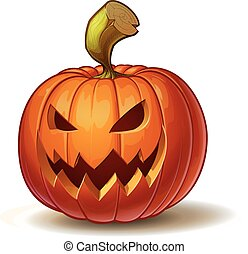 Pumpkins Scary 4 - Cartoon vector illustration of a...