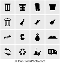 Vector black garbage icon set on grey background