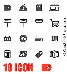 Vector grey shop icon set