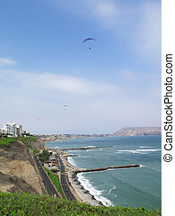 Stock Photo - Shot of the Green Coast beach in Lima-Peru...