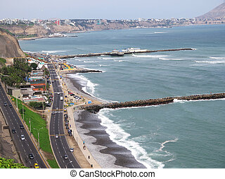 Shot of the Green Coast beach in Lima-Peru. May 2015