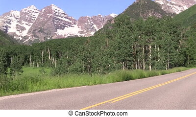 Road to the Maroon Bells - the highway leading to the scenic...