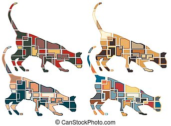 Sniffing cat mosaics - Set of colorful eps8 editable vector...