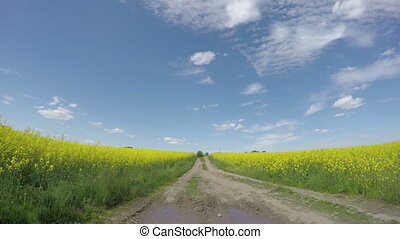 farm gravel road in spring and sky clouds motion Farmland...