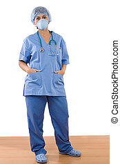 Woman doctor standing with mask over wooden floor