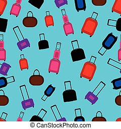 Seamless pattern with flat colorful luggage.