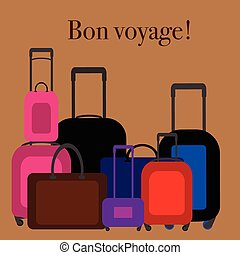 Flat design illustration baggage. Handbag suitcase.