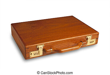 Wood attache case,isolated - attache case made of rich...