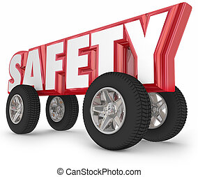 segurança, rodas, pneus, dirigindo, estrada, Regras,...