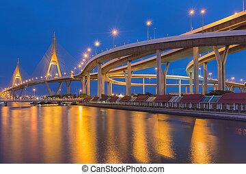 Suspension bridge and highway curve - Twilight at Suspension...